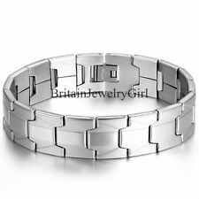 16MM Wide Silver Tone Stainless Steel Cool Men's Link Wristband Bracelet 8.1""