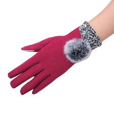 Fashion Women Leather Bowknot Splice Touch Screen Winter Warm Mittens Gloves