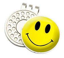 YELLOW SMILEY TOUR GOLF CAP/VISOR CLIP AND BALL MARKER