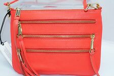 Rebecca Minkoff Three Zip Rocker Red Crossbody Shoulder Handbag Leather NWT