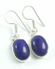 Women's 925 Silver overlay Blue Lapis Lazuli drop dangle Hook Earrings Jewellery
