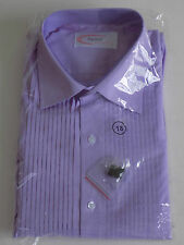 Men's Lilac Shirt Regular Collar Pleated front Double Cuff Dress Tailor Size 18