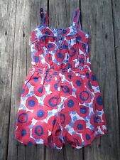 Mini Boden ~ Girls Red, White, Blue Floral Romper Jumpsuit ~ Size 5-6Y