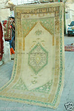 Antique Cr1900-1939s 4'7''9'9'' Gold-Ivory Colors Wool  Pile Area Rug-Turkey