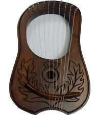 New Engraved Lyre Harp Sheesham Wood 10 Metal Strings Free Carrying Case & Key