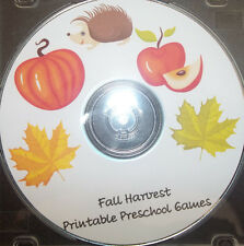 Fall themed preschool learning games.  Daycare school curriculum games for child