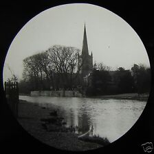 Glass Magic Lantern Slide STRATFORD UPON AVON CHURCH  C1910 ENGLAND
