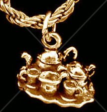 Dining China Tea cups Party Coffee Set Pot 24k Gold plated Charm Pendant Jewelry