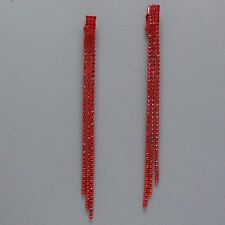 REALLY LONG red diamante clip on dangly earrings proms parties statement 214C