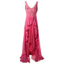 TEMPERLEY LONDON PINK BEADED ASSYMETRIC GOWN DRESS WITH TRAIN 12 UK 8 US