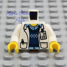 LEGO Male DOCTOR SCIENTIST MINIFIG TORSO Hospital White Blue Shirt Lab Coat Tech