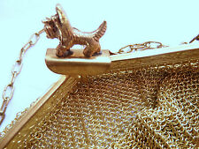 Art Deco  Scotty Dog  Gold Plated Chain Mail Flapper Bag