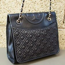 Tory Burch Fleming Quilted Flap Convertible Shoulder Bag BLACK