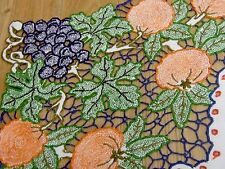 """Gorgeous VINTAGE HAND EMBROIDERED CUT WORK """" Fruity """" NATURAL LINEN TABLECLOTH"""