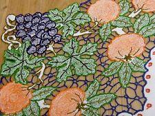 """Splendido Ricamato A Mano Vintage Cut Work """"Fruttato"""" Naturale Lino Tovaglia"""