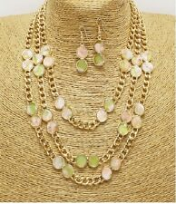 Gold Pink and Mint Acrylic Stone FASHION Necklace Set