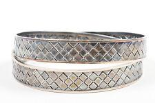 Bottega Veneta NIB $895 Sterling Silver Woven Intrecciato Bangle Bracelet SZ M