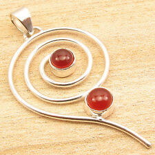 Red CARNELIAN 2 Gemstone NEW Themed Pendant 2 Inches ! Silver Plated Jewellery
