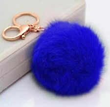 Cobalt Royal Blue Fluffy Pom-Pom Faux Fox Fur Keychain Rhinestone Bag Charm