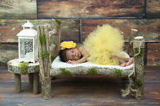 Newborn log bed photo and Night Stand baby photography prop wood bed hand made