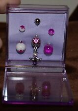 Purple Angel Dangle Purple White Black Light Glow & Purple Acrylic Belly Ring