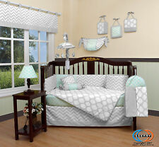 15PCS Green Gray Chevron Baby CRIB BEDDING SET - Including Mobile and Lamp SHADE