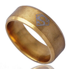B1387 Simple Yellow Gold Filled Men's Band Ring Size 10#