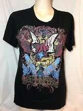 "Elvis Jesus & Co. Couture ""FALLEN ANGEL"" T-Shirt XL Beaded Graffiti art"