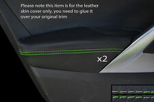 GREEN STITCH 2X FRONT DOOR ARMREST SKIN COVERS FITS HYUNDAI VELOSTER 11-15 5 DR