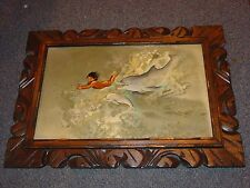 Vintage Laurie Manzano Painting Boy Swimming w/ Dolphins 1977 hawaiian hawaii