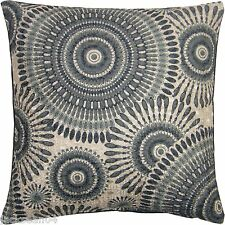 SPIRAL BLACK SILVER GREY WOVEN EMBROIDERED CUSHION COVER 18""