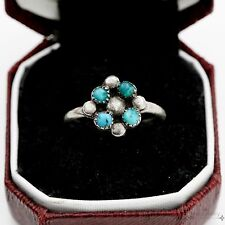 Vintage Sterling Silver Native Pawn Indian Navajo Petit Turquoise Ring Sz 6.25