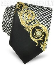 VERSACE black HOUNDSTOOTH gold Scroll MEDUSA head silk Twill MENS tie NWT Authen