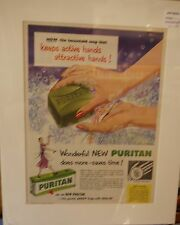 Original Vintage Advert mounted ready to frame Puritan green soap with Olive Oil