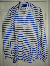 RALPH LAUREN -POLO CONTEMPORARY WHITE/BLUE STRIPED L/SLEEVED DRESS SHIRT M