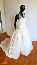 Vera Wang Pleated Vintage Train Button Down Princess Ball Gown Sample Dress 8