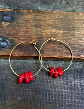 Anthropologie Natural Red Coral Beads Gold Plated Hoop Minimal Boho Earrings
