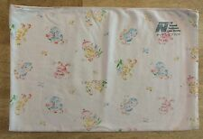 Vintage Baby Receiving Blanket White Yellow Blue Pink Birds 9-93 Linen Service