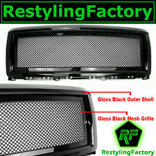 14-15 Chevy Silverado 1500 Truck All Gloss Black Mesh Grille Replacement Shell
