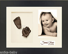 New 3D Baby Casting Kit Hand Foot Bronze Casts Christening Gift Black Foto Frame
