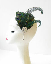 Green Blue Silver Peacock Feather Headpiece Headband 1920s Flapper Vintage 1471