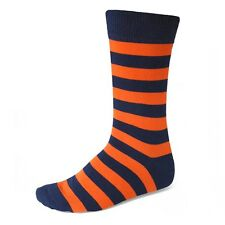 Men's Navy Blue and Orange Striped Socks, Your Feet Won't Fail You Now