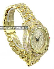 big manly gold tone white CZ ice out dial case bracelet clubbing watch Techno