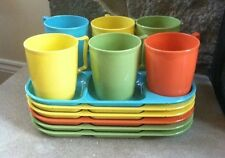 VRG Retro Colonial Plastics Serving Trays & Cups, 6 Matching Sets, 12 Pieces
