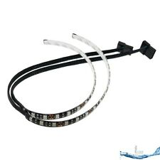 2 x 30cm Blue LED Strip Light for PC Computer Case Sleeved Cable Molex Connector