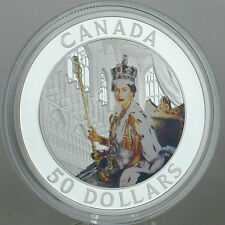 Canada 2013 $50 Queen Elizabeth II Coronation 5 oz Pure Silver Color Proof Coin