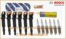 NEW OEM BOSCH BMW E46 E60 E85 E90 IGNITION COILS x6 & SPARK PLUGS FR7NPP332x6