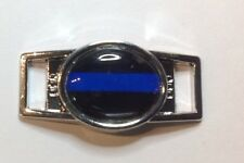 Police with Blue Line and Black Background Oval paracord shoelace (1) charm