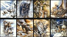 8 BEAUTIFUL WILDLIFE PANELS WOLF OWL BEAR MOOSE DUCK FOR QUILTS HOME DECOR #377