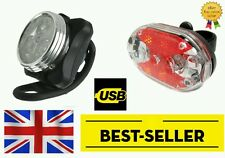 front 3 led USB rechargeable & rear 9 led bike lights set - bright light cycling